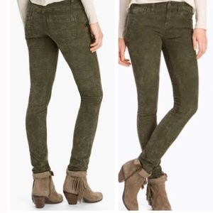 Free People Olive Corduroy Skinny Pants